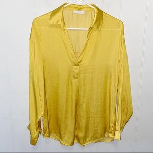 Lush Yellow Satin V-Neck Collared Blouse